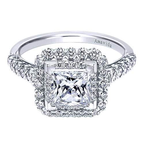 18k White Gold Princess Cut Double Halo Engagement Ring