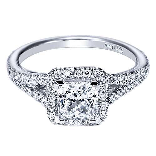 Gabriel - 18k White Gold Princess Cut Halo Engagement Ring