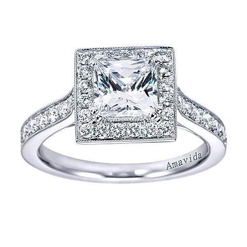18k White Gold Princess Cut Halo Engagement Ring angle 5