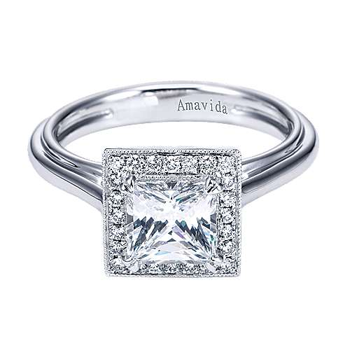 18k White Gold Princess Cut Halo Engagement Ring angle 1