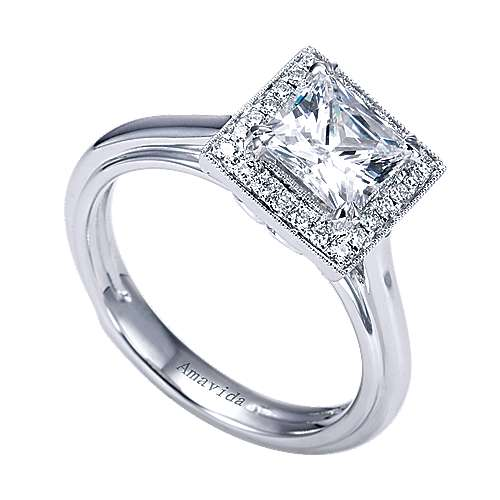 18k White Gold Princess Cut Halo Engagement Ring angle 3