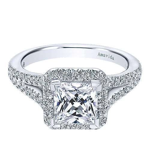 18k White Gold Princess Cut Halo