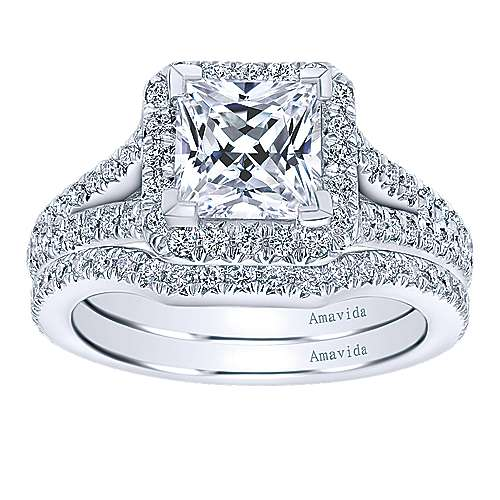18k White Gold Princess Cut Halo Engagement Ring angle 4
