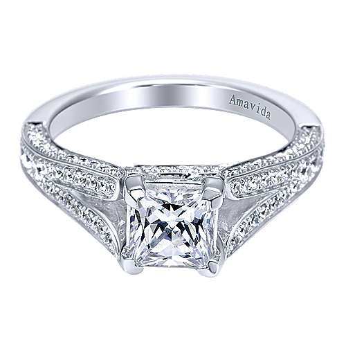 Gabriel - 18k White Gold Princess Cut Split Shank Engagement Ring