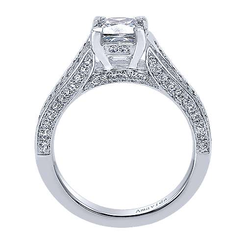 18k White Gold Princess Cut Split Shank Engagement Ring angle 2