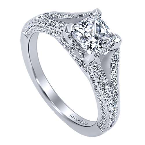 18k White Gold Princess Cut Split Shank Engagement Ring angle 3