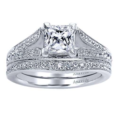 18k White Gold Princess Cut Split Shank Engagement Ring angle 4