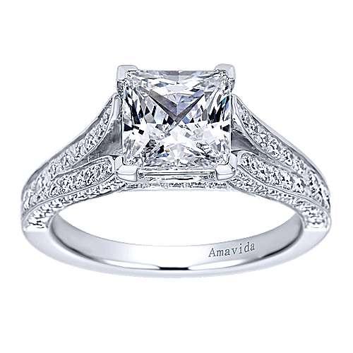 18k white gold princess cut split shank engagement ring angle 5 - Wedding Rings Princess Cut