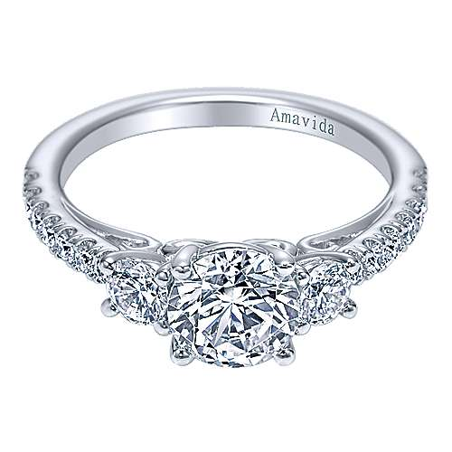 Gabriel - 18k White Gold Round 3 Stones Engagement Ring
