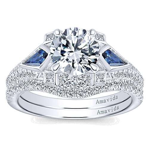 18k White Gold Round 3 Stones Engagement Ring angle 4