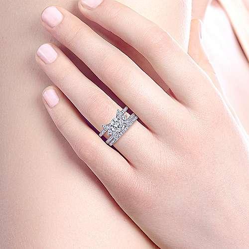 18k White Gold Round 3 Stones Engagement Ring angle 6