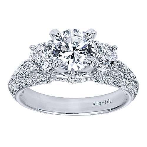 18k White Gold Round 3 Stones Engagement Ring angle 5