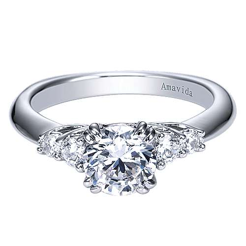 18k White Gold Round 3 Stones Engagement Ring angle 1