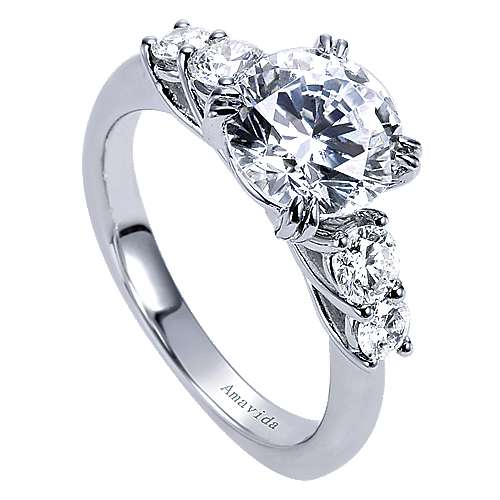 18k White Gold Round 3 Stones Engagement Ring angle 3