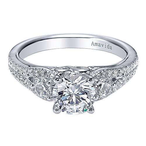Gabriel - 18k White Gold Round 3 Stones Engagement Ring