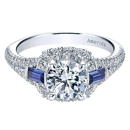 18k White Gold Round 3 Stones Halo Engagement Ring angle 1