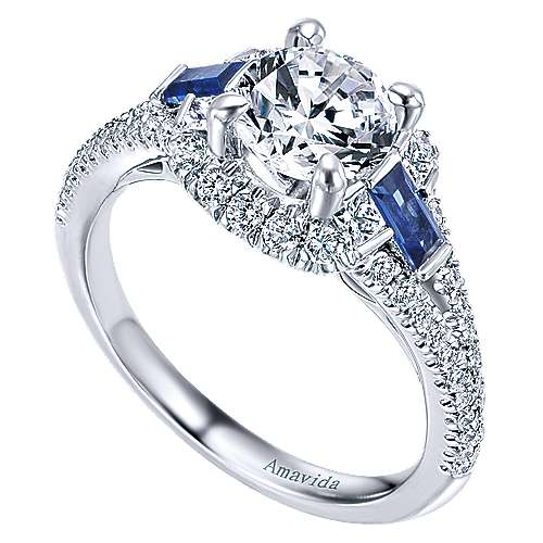 18k White Gold Round 3 Stones Halo Engagement Ring angle 3