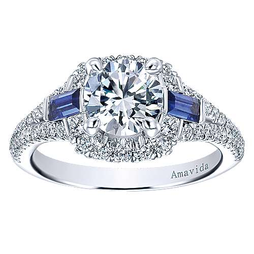 18k White Gold Round 3 Stones Halo Engagement Ring angle 5