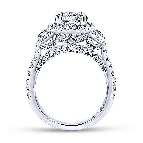 18k White Gold Round 3 Stones Halo Engagement Ring angle 2