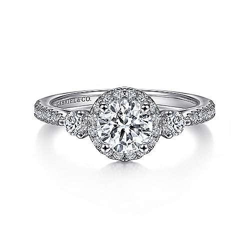 18k White Gold Round 3 Stones Halo Engagement Ring angle 1