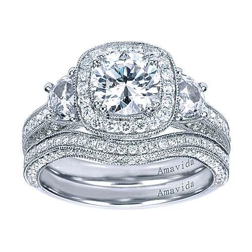 18k White Gold Round 3 Stones Halo Engagement Ring angle 4