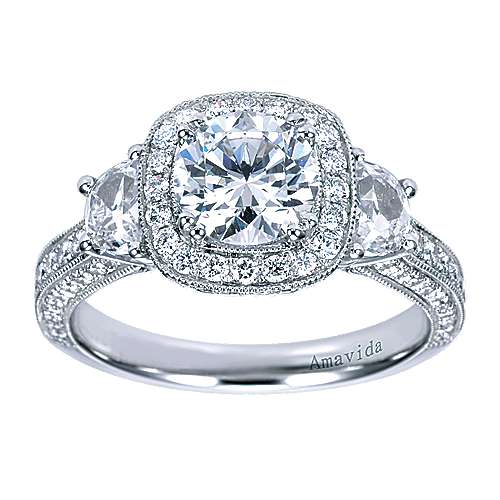 18k White Gold Round 3 Stones Halo Engagement Ring angle 5