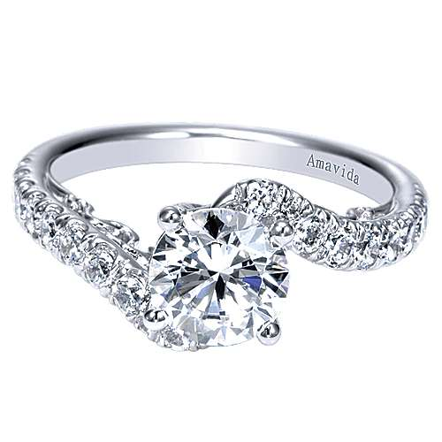 18k White Gold Round Bypass Engagement Ring angle 1