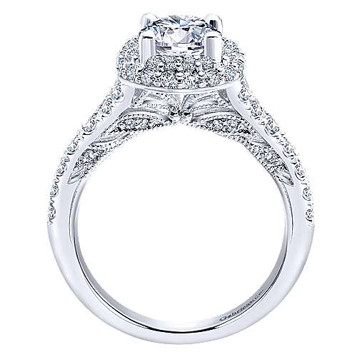 18k White Gold Round Double Halo Engagement Ring angle 2