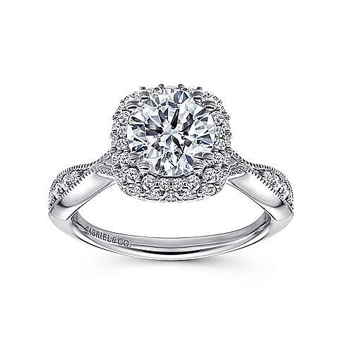 18k White Gold Round Double Halo Engagement Ring angle 5