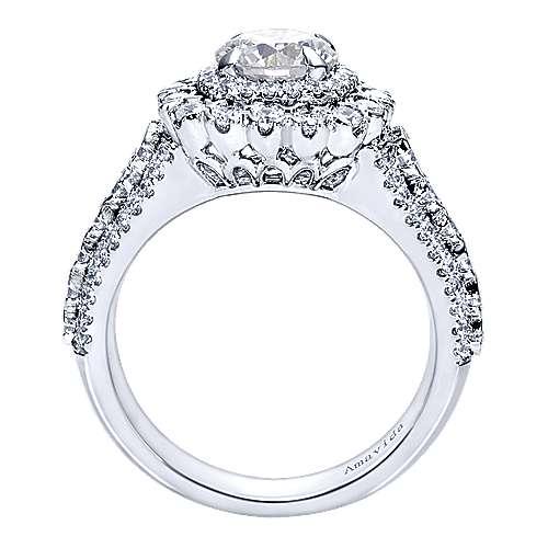 18k White Gold Round Double Halo Engagement Ring angle 2
