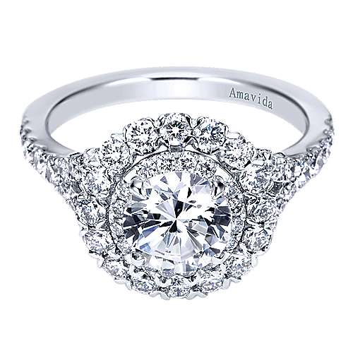 18k White Gold Round Double Halo