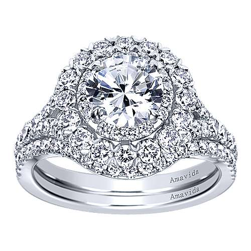 18k White Gold Round Double Halo Engagement Ring angle 4