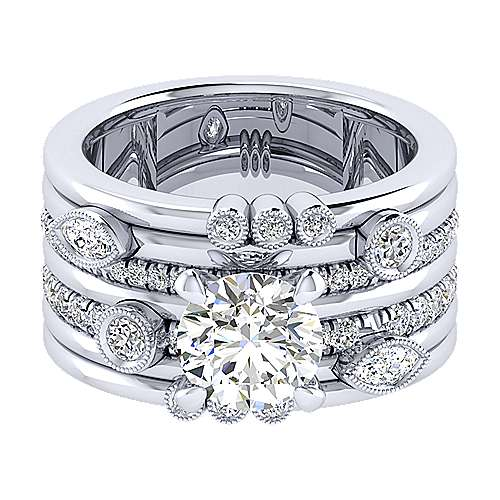 Gabriel - 18k White Gold Round Free Form Engagement Ring