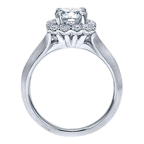 18k White Gold Round Halo Engagement Ring