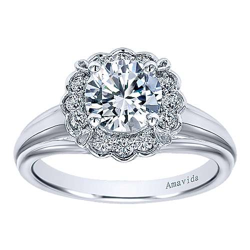 18k White Gold Round Halo Engagement Ring angle 5
