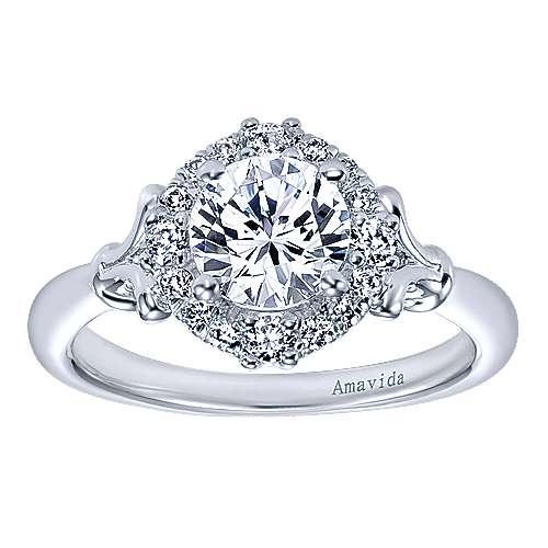 18k White Gold Round Halo Engagement Ring