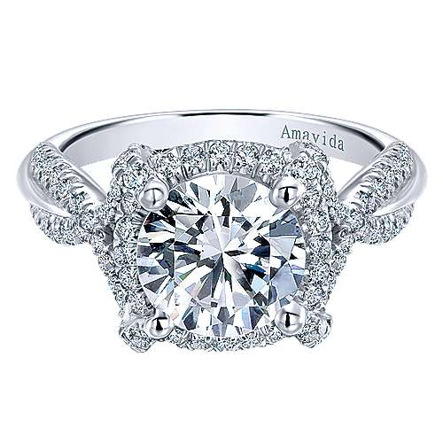 18k White Gold Round Halo Engagement Ring angle 1