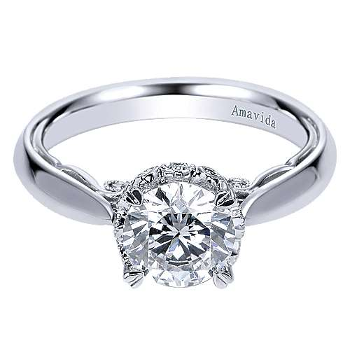 Gabriel - 18k White Gold Round Solitaire Engagement Ring