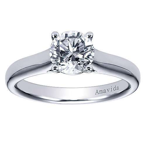 18k White Gold Round Solitaire Engagement Ring