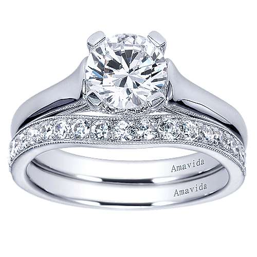 18k White Gold Round Solitaire Engagement Ring angle 4