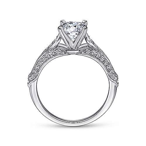 18k White Gold Round Split Shank Engagement Ring angle 2