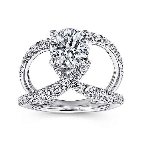 18k White Gold Round Split Shank Engagement Ring angle 5