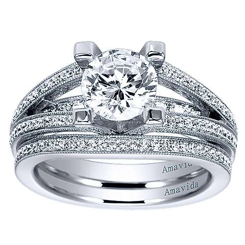 18k White Gold Round Split Shank Engagement Ring angle 4