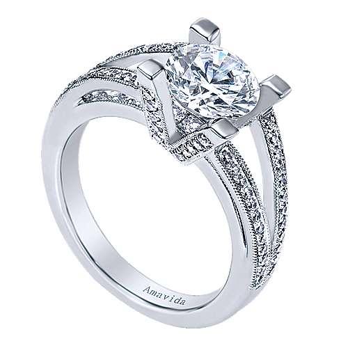 18k White Gold Round Split Shank Engagement Ring angle 3