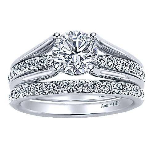 18k White Gold Round Split Shank Engagement Ring angle 4