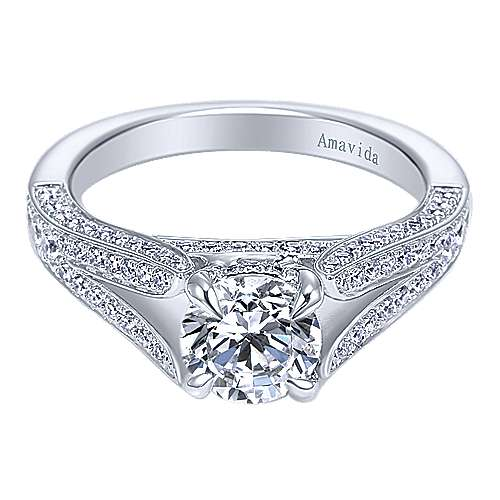 18k White Gold Round Split Shank