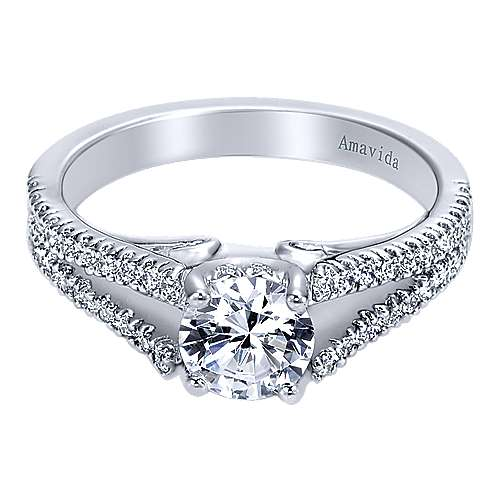 18k White Gold Round Split Shank Engagement Ring