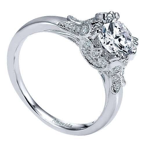 18k White Gold Round Straight Engagement Ring