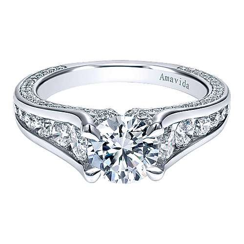 18k White Gold Round Straight Engagement Ring