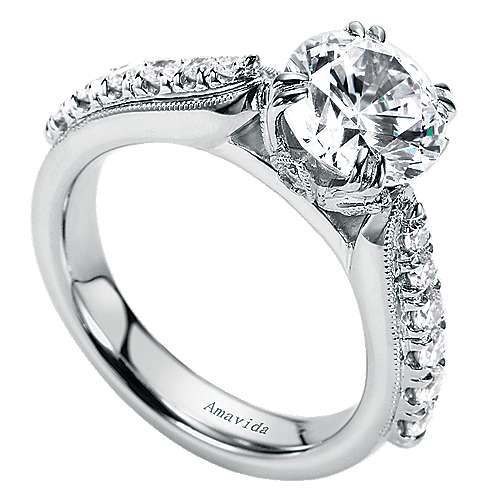 18k White Gold Round Straight Engagement Ring angle 3